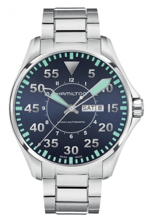 AVIATION PILOT DAY DATE AUTO STAINLESS MEN'S WATCH H64615545, 46MM