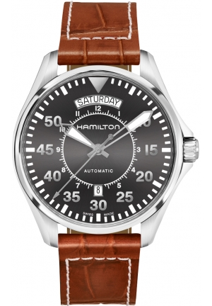 AVIATION PILOT DAY DATE AUTO LEATHER MEN'S WATCH H64615585, 42MM