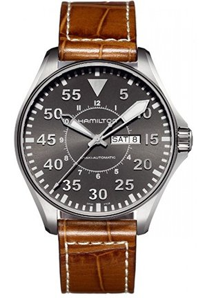 Hamilton Men's Khaki Pilot Grey Dial Watch 45.4mm H64715885