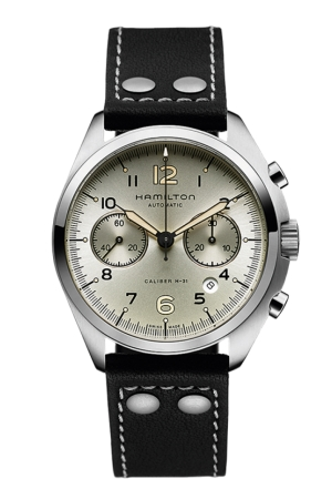 AVIATION PILOT PIONEER AUTO CHRONO LEATHER MEN'S WATCH H76416755, 41MM