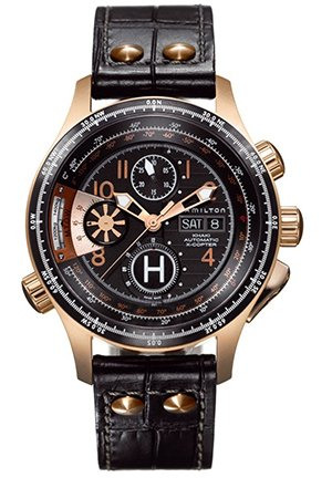 Hamilton Men's Khaki 'Aviation X-copter' Black Chronograph Dial Watch 45mm H76646533
