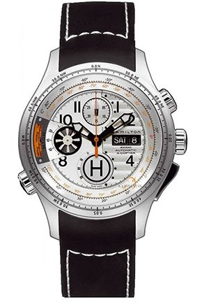Hamilton Men's Khaki 'Aviation X-copter' White Chronograph Dial Watch 45.6mm H76656353