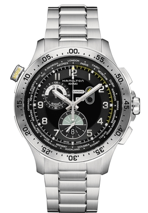 WORLDTIMER BLACK DIAL CHRONOGRAPH STAINLESS STEEL MEN'S WATCH H76714135 45MM