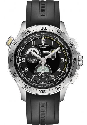 WORLDTIMER BLACK DIAL CHRONOGRAPH BLACK RUBBER MEN'S WATCH H76714335 45MM