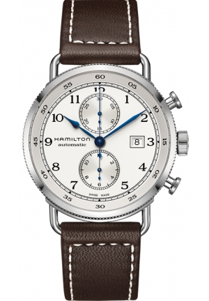 KHAKI NAVY PIONEER CHRONOGRAPH AUTOMATIC SILVER DIAL BROWN LEATHER MEN'S WATCH  H77706553 44MM