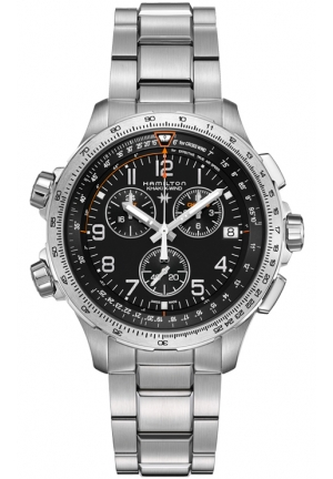 AVIATION KHAKI X-WIND CHRONO QUARTZ GMT STAINLESS MEN'S WATCH H77912135, 46MM