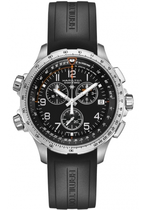 AVIATION KHAKI X-WIND CHRONO QUARTZ GMT RUBBER MEN'S WATCH H77912335, 46MM