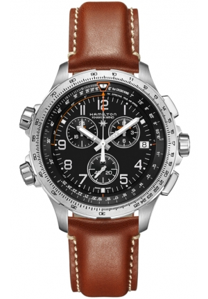 AVIATION KHAKI X-WIND CHRONO QUARTZ GMT LEATHER MEN'S WATCH H77912535, 46MM