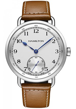 Hamilton Navy Pioneer Automatic White Dial Tan Leather Mens Watch 46mm H78719553