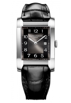 BAUME & MERCIER Black Dial Leather Strap Mid Size Watch 40.0 mm x 27.1 mm