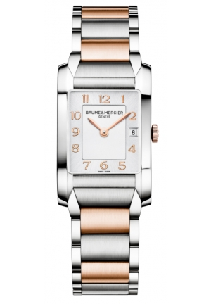 BAUME & MERCIER Silver Dial Steel and 18kt Rose Gold Ladies Watch 34.5 mm x 22.0 mm