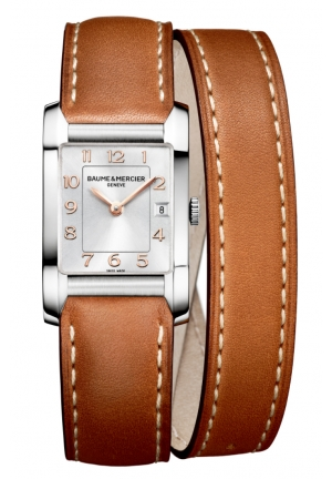 BAUME & MERCIER Silver Dial Leather Strap Ladies Watch 34.5 mm x 22.0 mm