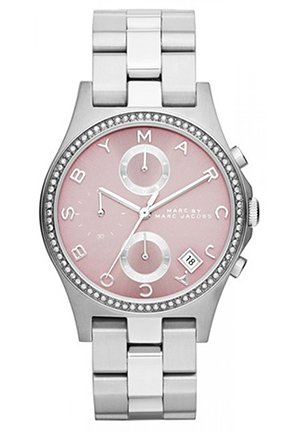 Henry Silver Tone Pink Dial Watch 36.5mm MBM3297