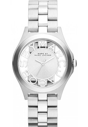 Henry Skeleton Silver Tone Link Watch 34mm