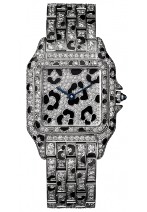 PANTHÈRE DE CATIER WATCH MEDIUM 18K WHITE GOLD MODEL WITH DIAMONDS AND PANTHER SPOTS HPI01096, 37X27MM