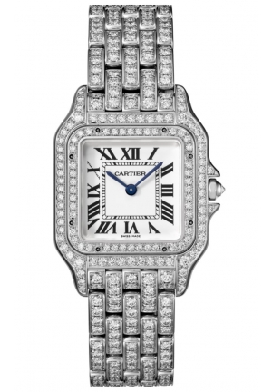 PANTHÈRE DE CATIER WATCH MEDIUM 18K WHITE GOLD MODEL WITH DIAMONDS HPI01130, 27X37MM