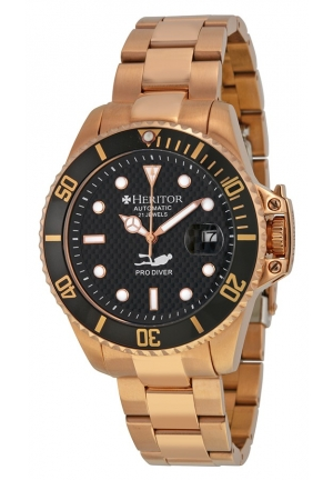 HERITOR Pytheas Diver Automatic Black Carbon Dial Rose Gold-tone Men's Watch