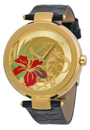 VERSACE Mistique White Hibiscus Black Leather Ladies 38mm
