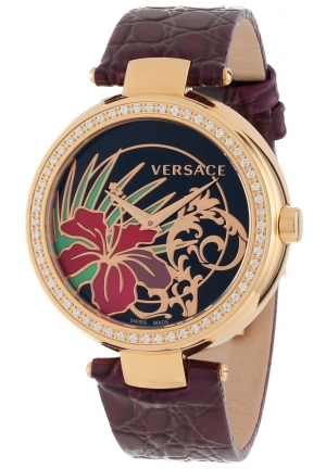 VERSACE Mystique Rose Gold Ion-Plated Violet Leather Band Diamond 37.5mm