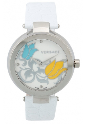 VERSACE Mystique Stainless Steel White Leather Enamel Dial 38mm
