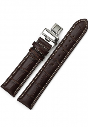 20mm Calf Leather Stitched Replacement Watch Band Push