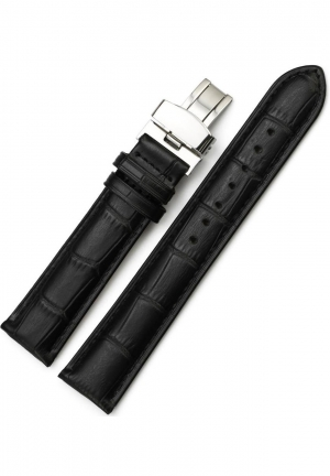 22mm Cow Leather Watch Band Strap Black