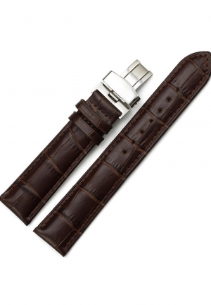 22mm Genuine Leather Watch Band Padded Deployant Croco Strap