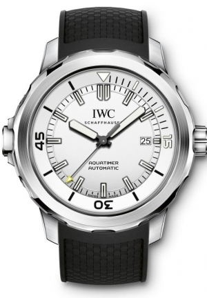 IWC Aquatimer Silver Dial Black Rubber Men's Watch IW329003 42mm