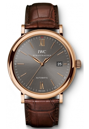 IWC Portofino Automatic Grey Dial Brown Leather Strap Men's Watch IW356511 40mm