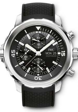 IWC Aquatimer Chronograph Black Dial Black Rubber Men's Watch IW376803 44mm