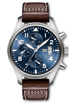 IWC Pilot Le Petit Prince Blue Dial Brown Leather Mens Watch IW377706 43mm