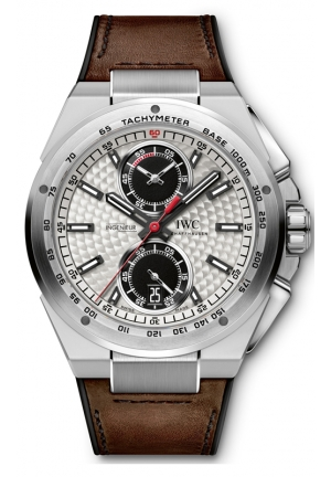 IWC Ingenieur Silver Dial Leather Strap Automatic Mens Chrono Watch IW378505 45mm
