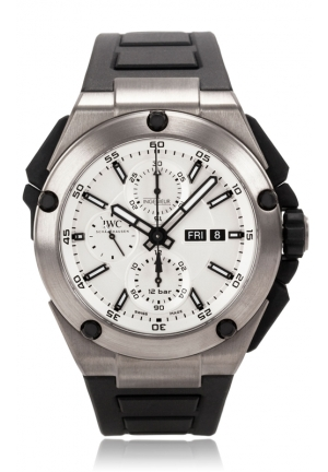 IWC Ingenieur Double Chronograph Silver Dial Rubber Strap Automatic Mens Watch IW386501 45mm