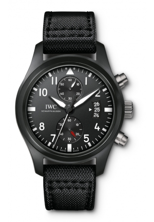 IWC Pilot Top Gun Black Dial Chronograph Mens Watch IW388007 46mm