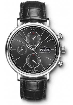 IWC Portofino Chronograph Black Dial Alligator Leather Strap Automatic Men's Watch IW391008 42mm