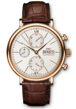 IWC Portofino Silver Dial Chronograph Brown Alligator Leather Men's Watch IW391020 42mm