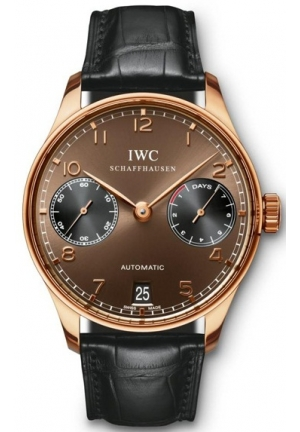IWC Portuguese 7 Day Power Reserve Automatic Rose Gold Mens Watch IW500124 42mm