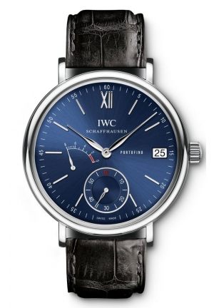 IWC Portofino Blue Dial Black Leather Men's Watch IW510106 45mm