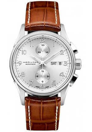 Jazzmaster Maestro Silver Dial Brown Leather Mens Watch 44mm
