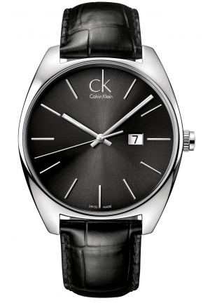CALVIN KLEIN Men's Swiss Exchange Black Leather Strap 44mm