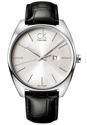 CALVIN KLEIN Men's Swiss Black Leather Strap 44mm