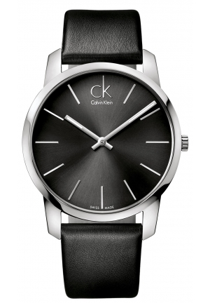 CALVIN KLEIN Men's Swiss City Black Leather Strap 43mm