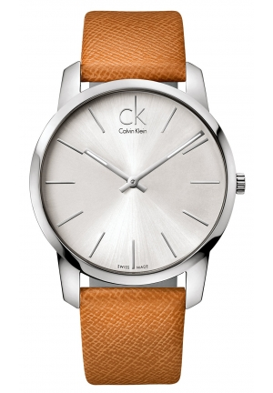 CALVIN KLEIN Men's Swiss City Brown Leather Strap 43mm