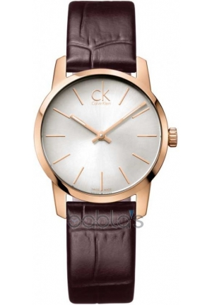 Calvin Klein  Ladies City Rose Gold Leather Strap Watch