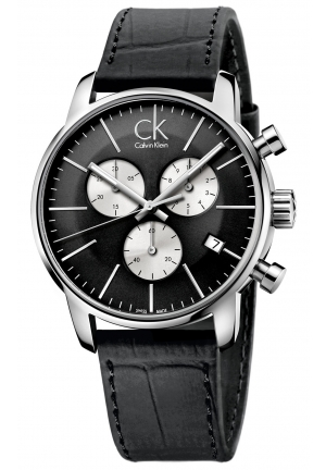 CALVIN KLEIN Men's Swiss Chronograph City Black Leather Strap Watch 43mm