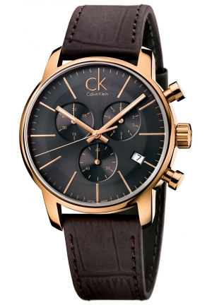 CALVIN KLEIN Men's Swiss Chronograph City Brown Leather Strap Watch 43mm