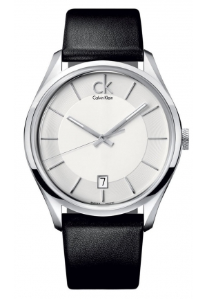 CALVIN KLEIN Men's Swiss Black Leather Strap 42mm