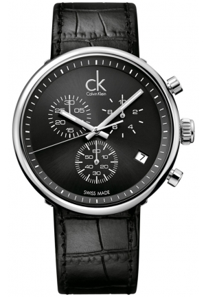 CALVIN KLEIN Men's Swiss Chronograph Black Leather Strap 45mm