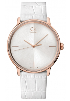 CALVIN KLEIN Women's Swiss Accent White Leather Strap 41mm