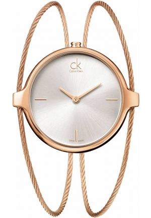 CALVIN KLEIN Women's Rose Gold Stainless Steel Double Bangle Bracelet 32x38mm